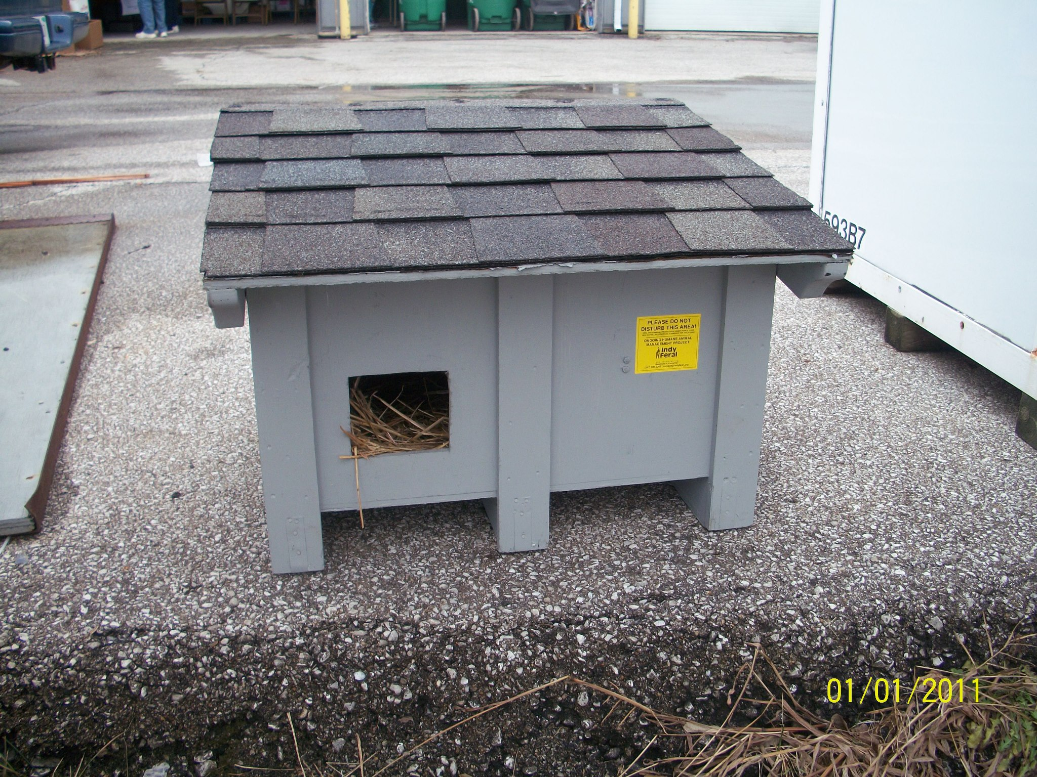 Outdoor cat shelters and feeding stations